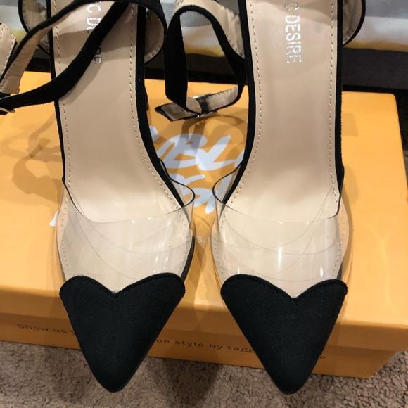 8baa6fb6b7 Public Desire Shoes | Heartthrob Heart Toe Heels In Faux Suede ...